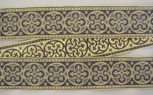 Antique Reproduction Gold /& Gray Jacquard Trim