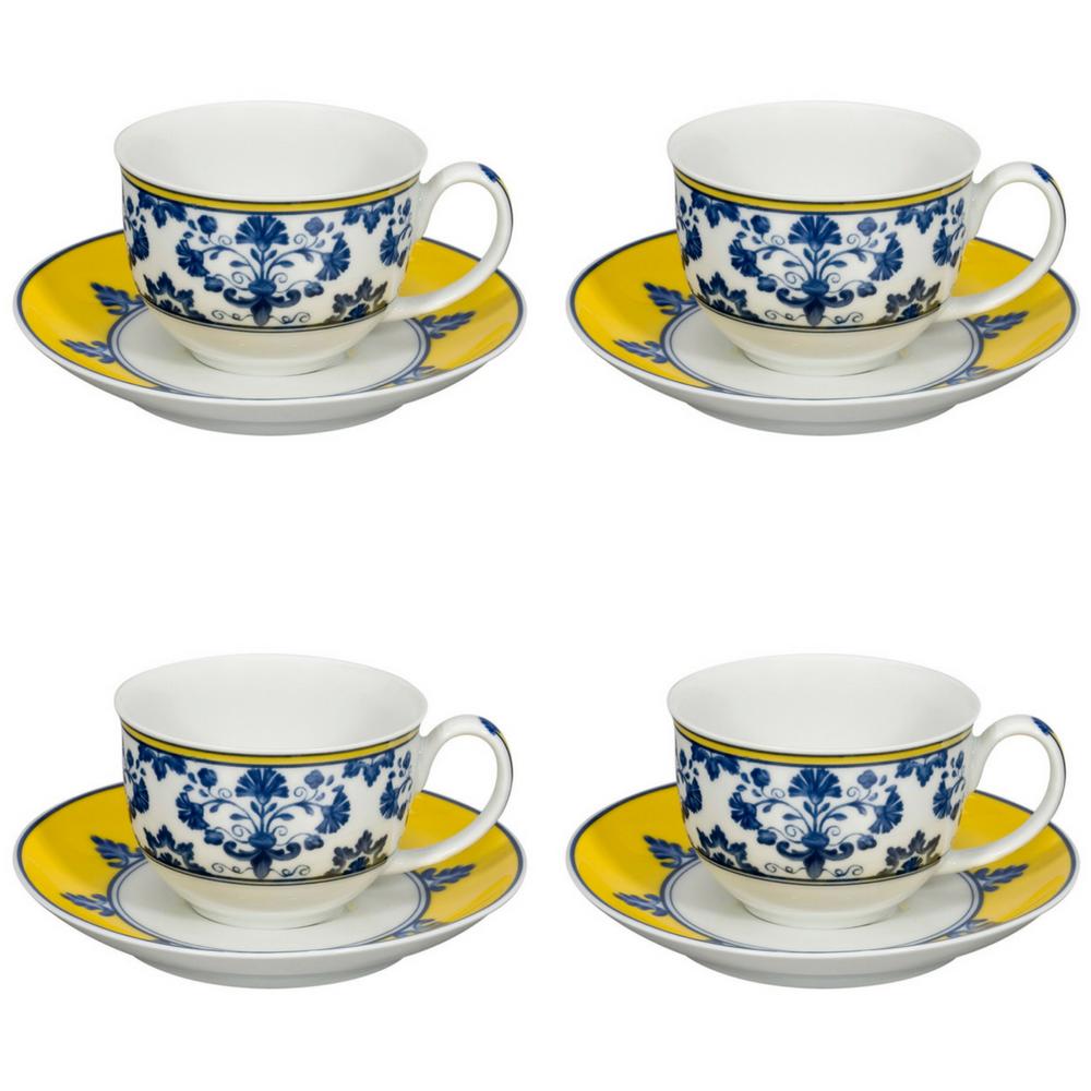Vista Alegre Porcelain Castelo Branco Tasse à café & soucoupe-Lot de 4
