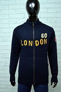 Maglione-Uomo-BOY-LONDON-Taglia-Size-L-Pullover-Sweater-Cardigan-Felpa-Lana-Blu