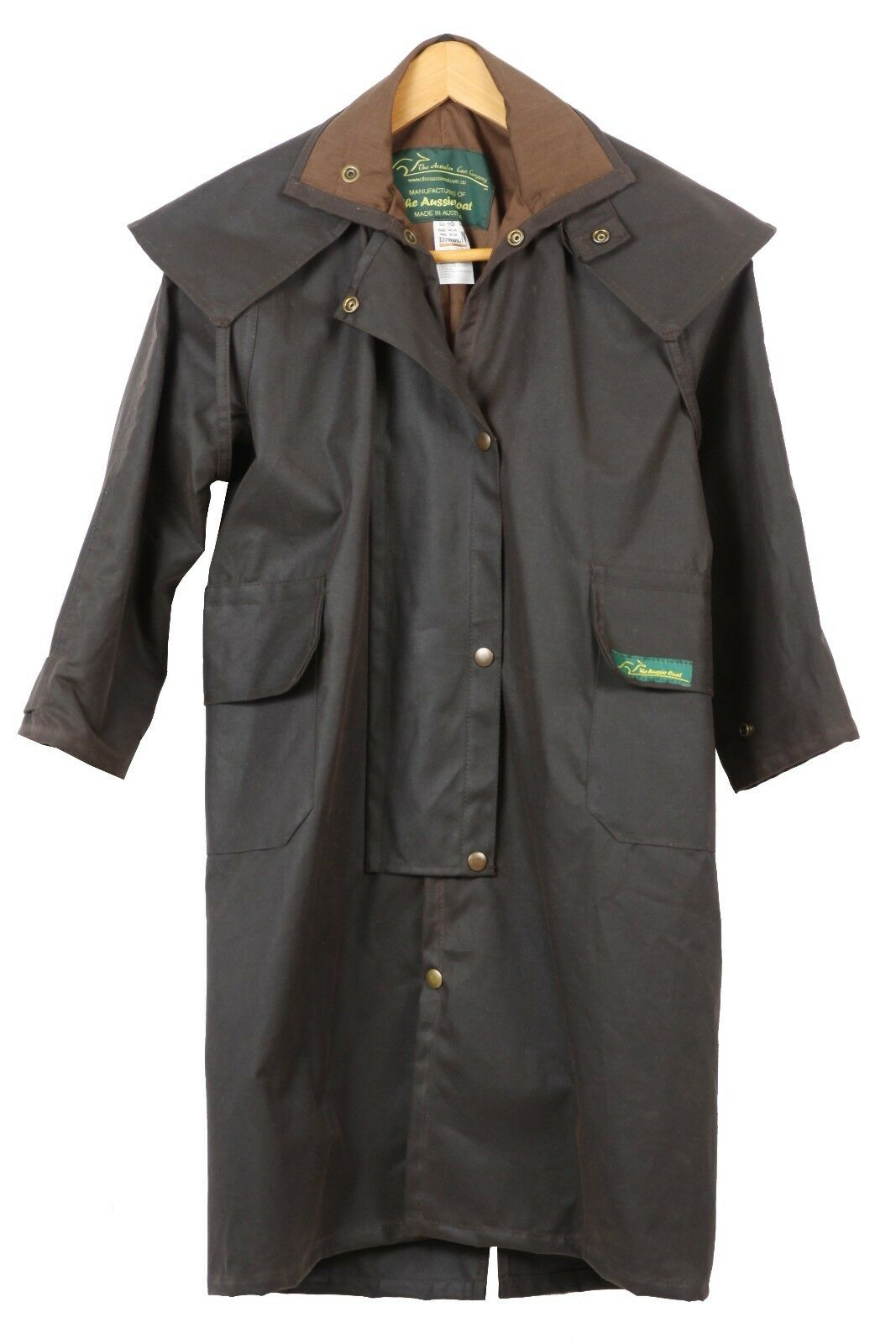 Traditional Brown full-length Oilskin Riding Coat 3XS - 8XL made in Australia
