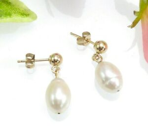 10-CT-Gold-amp-Baroque-Pearl-Drop-Earrings
