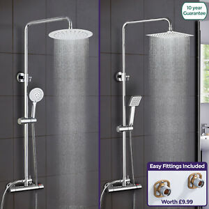 Rosa-Thermostatic-Exposed-Shower-Mixer-Bathroom-Twin-Head-Round-Square-Bar-Set