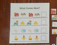 Farm themed What Comes Next laminated preschool child learning game for daycare