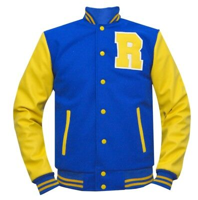 New Men KJ Apa Riverdale Archie Blue Front Baseball Varsity Rib Knit Wool Jacket