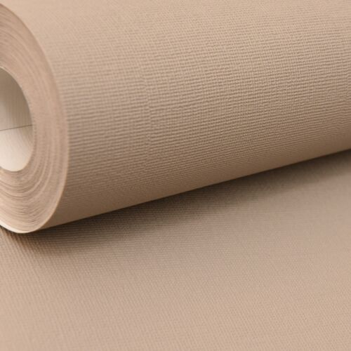Rasch Plain Mid Taupe Paste The Wall Textured Vinyl Wallpaper Brown Grey Mixed