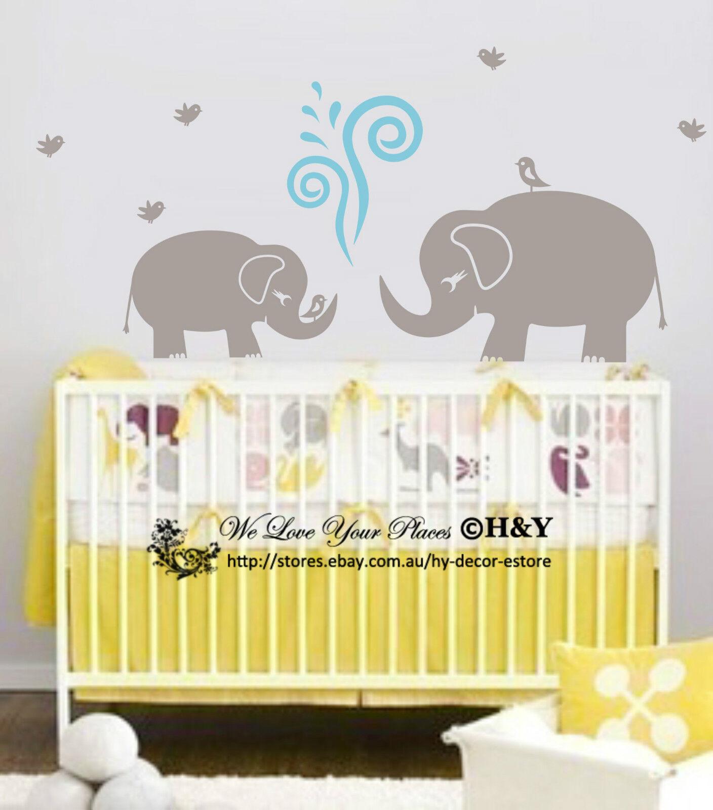 Cute Elephant Wall Sticker Vinyl Decal Kid Nursery Baby Decor ...