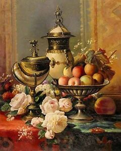 Dream-art Oil painting nice still life peony flower & fruits hand painted in oil