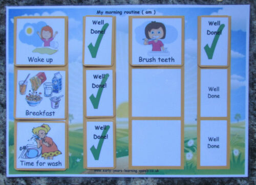 **NEW** Visual to do Morning Girl Evening Large A4 cards OR Strips for Boy