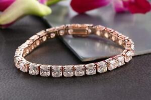 18Ct-Asscher-Cut-Sparkle-VVS1-D-Diamond-Tennis-Bracelet-14K-Rose-Gold-Finish