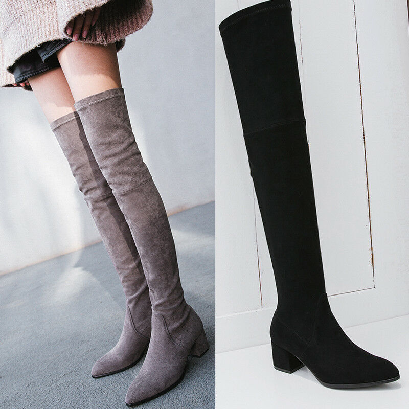 Womens Retro Low Block Heels Suede Over The Knee Thigh High Boots Shoes Formal