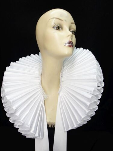 Ruffled Collar White Satin Huge Tall Wide Elizabethan Neck Ruff Victorian Queen