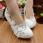 Handmade Women Pearl White Lace Bridal Wedding Shoe High Heel OAUR #17115