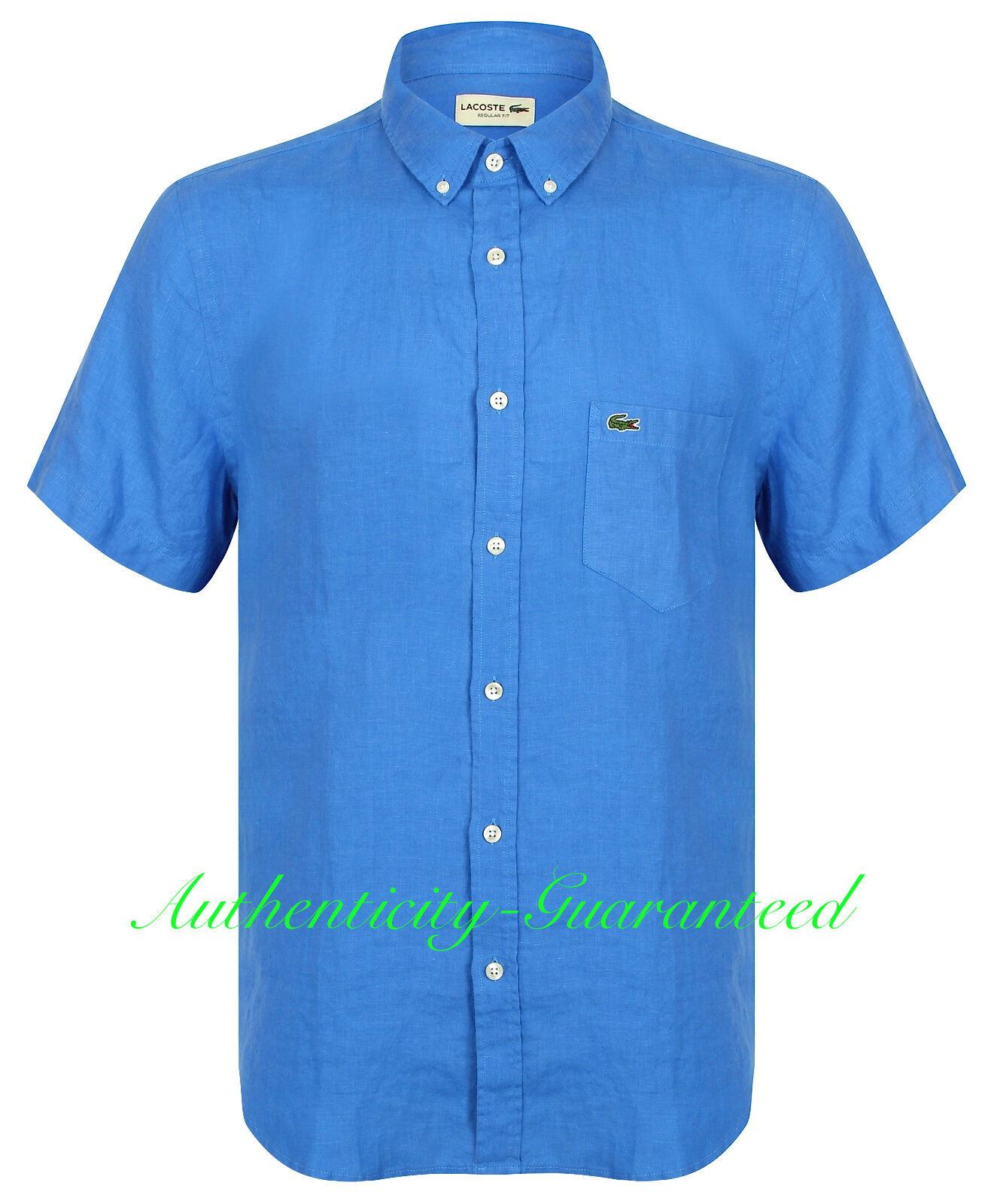 Lacoste Para hombres Mangas Cortas Camisa  De Lino Azul Turquesa   BNWT Venta   venta