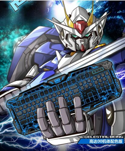 Mobile Suit Gundam OO 00 Crack Keyboard LED Backlight USB Wired Multimedia PC