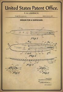 US-Patent-Surfbrett-Surfboard-1967-Blechschild-Schild-Metal-Tin-Sign-20-x-30-cm