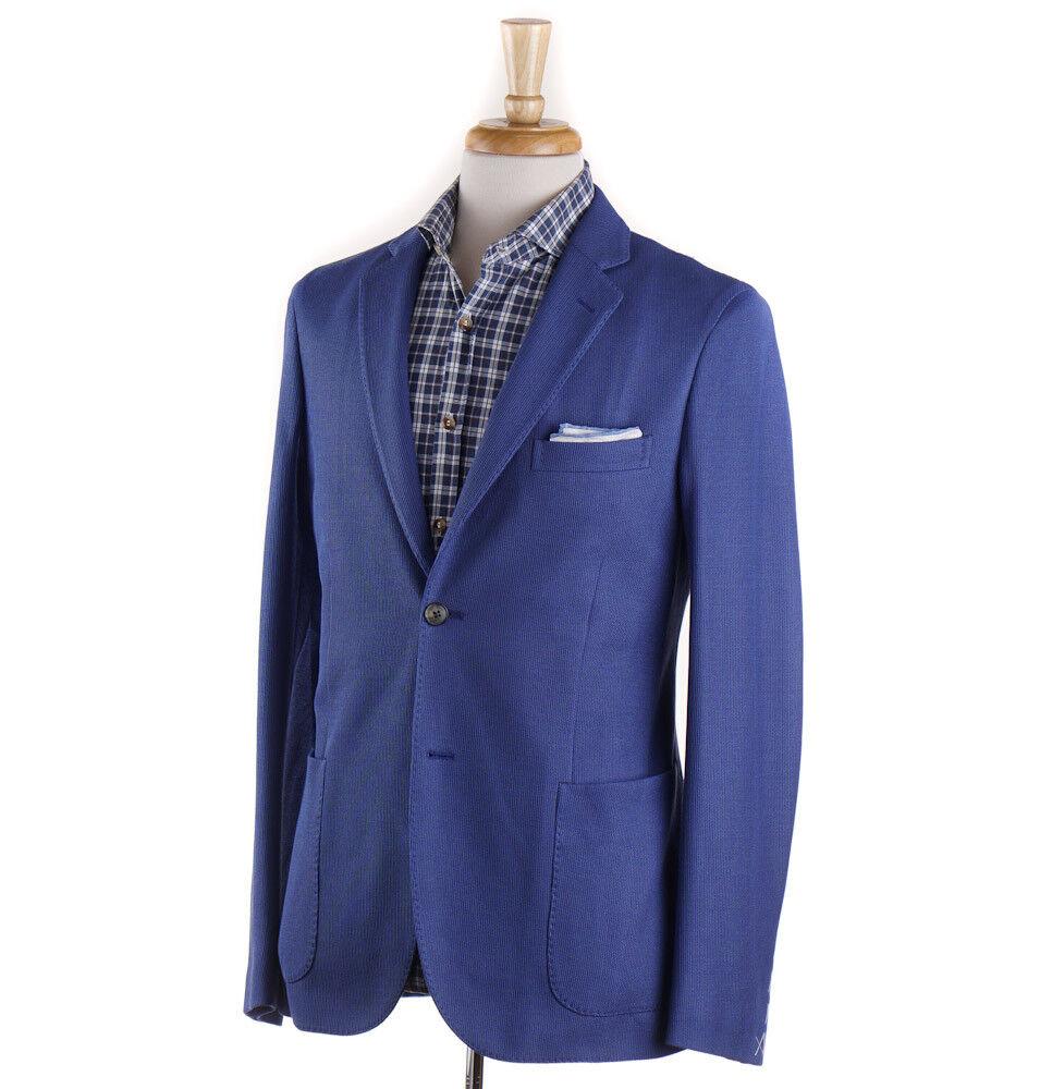 NWT 1250 BOGLIOLI Ocean Blau Knit Cotton Sport Coat Slim 40 R (Eu 50)