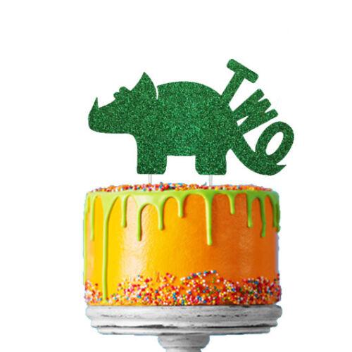 Dinosaure 4th Birthday Cake Topper-Numéro Quatre 4th Topper-Glitter Vert