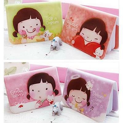 Cute Cartoon Girl Card Case Pouch Purse Wallet Credit Card Keeper Storage Holder