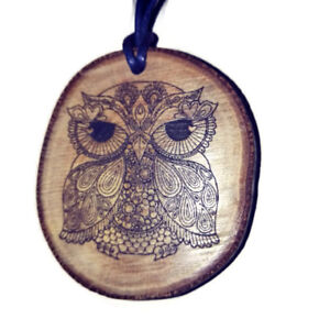 Owl-Floral-Handmade-Wooden-Necklace-Charm-Eco-Friendly-Pendant-Jewellery-Owl