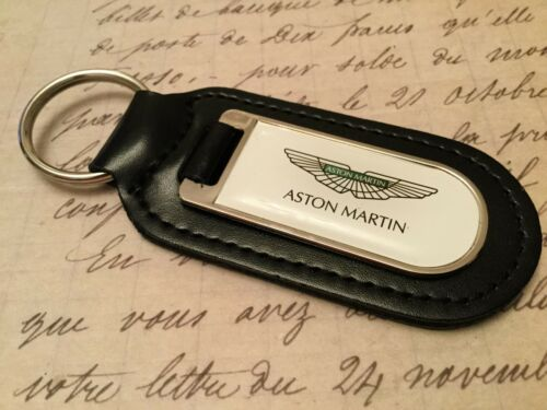 ASTON MARTIN WHITE PRINTED BLACK LEATHER KEY RING FOB DB 7 8 9 10 11 VANTAGE