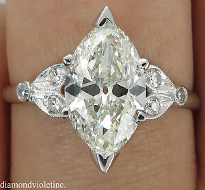 image is loading 2 25ct antique vintage deco old marquise diamond - Marquise Diamond Wedding Ring