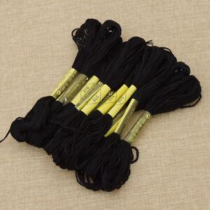 Black-Cross-Stitch-Cotton-Crochet-Embroidery-Floss-Thread-Skien-1-Set