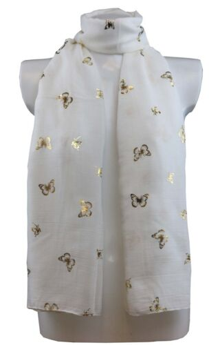 Glitter Gold Butterfly Large Scarf Ladies Scarves