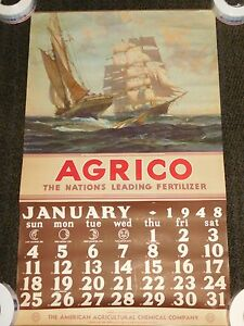 "VINTAGE 1948 LARGE 34"" X 20 1/2"" AGRICO SAILING SHIPS FERTILIZER CALENDAR"