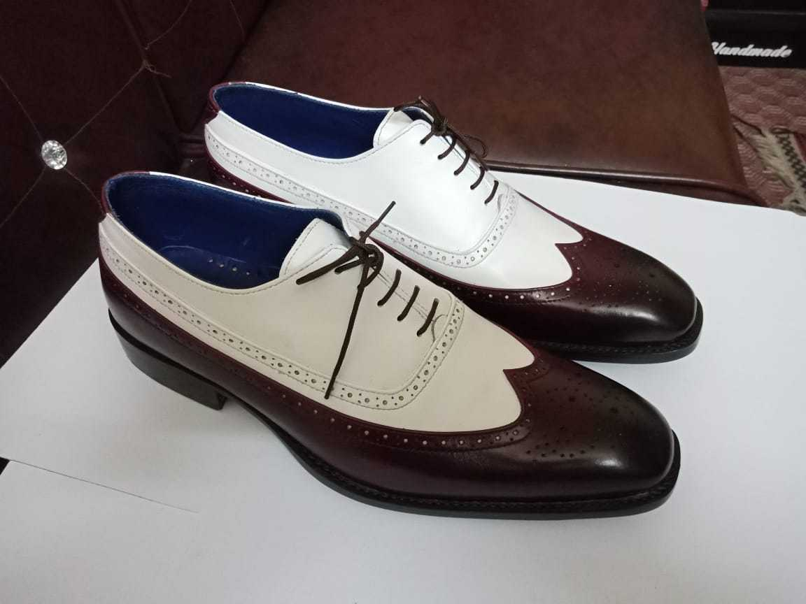 New Handmade Uomo two tone wingtip brogue formal shoes, Uomo dress leather shoes