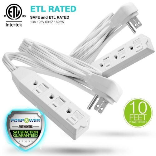 2xETL Listed 3 Outlet Wall Tap Power Strip Adapter Flat Plug Extension Cord 10FT