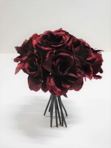 9 x Rose Rose struzzo struzzo mazzo di fiori fiore seta 24 cm BORDEAUX 300522-03 f9