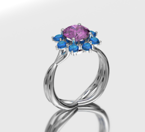 14 KT WHITE gold PINK TOURMALINE  AND SWISS blueE TOPAZ CABOSHON RING SIZE 9