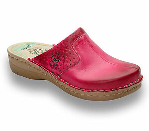 New Ladies Sandals Slippers Slip donna Leon Uk 360 Clogs Leather Pink On Mules Czx5PUx