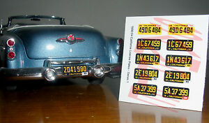 1950-1954-CALIFORNIA-miniature-LICENSE-PLATES-for-1-25-scale-MODEL-CARS