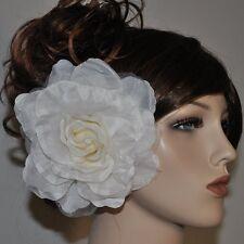 ROSE Stoffblume IVORY WEISS Blume Brosche Ansteckblume Fascinator Haarschmuck