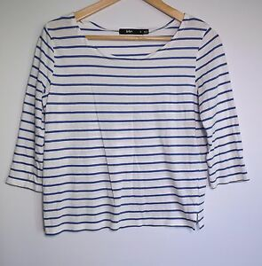 Sportsgirl-Women-039-s-White-amp-Blue-Stripe-3-4-Sleeve-Top-Size-S