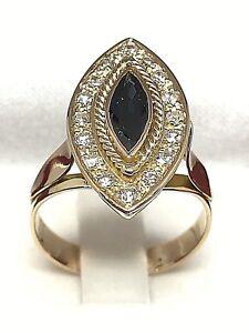 Bague-or-18-carats-diamants-et-saphir-5-67-grammes