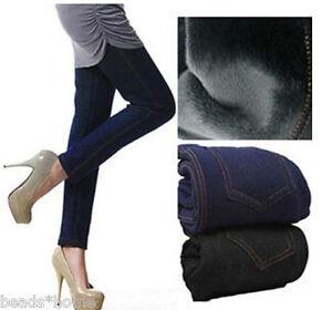 1a7dacd5d32ca Women Sexy Fashion Faux Denim Jeans Fur Lined Leggings Bodycon ...