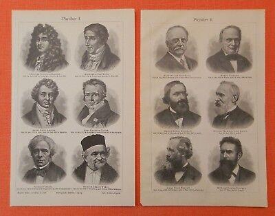 Sonnig Porträt Physiker Ampere Faraday Kelvin Röntgen Maxwell Holzstich Von 1905 Seien Sie Freundlich Im Gebrauch