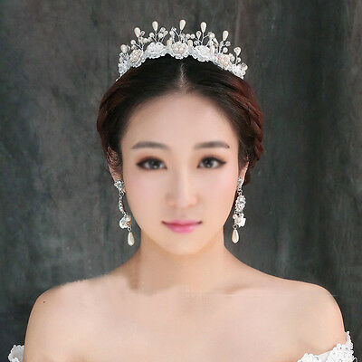 6cm High Lace Crystal Pearl Hair Band HeadBand Tiara Accessories Wedding Prom
