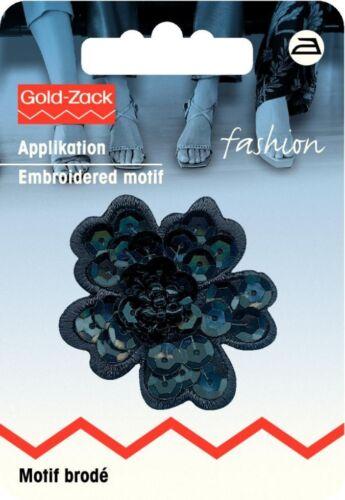 926182 each Prym Iron On Embroidered Motif Applique Black Sequin Flower