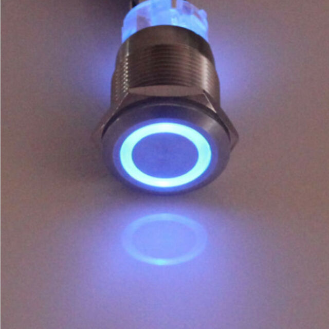12v 19mm Blue LED Power Symbol Angel Eye Push Button Toggle Metal On ...