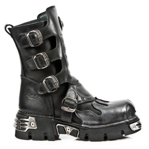 Grandes zapatos con descuento Newrock New Rock 591-S3 Silver Flame Metalic Black Leather Boot Biker Goth Boots