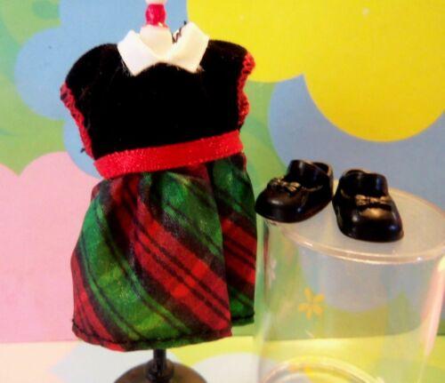 Kelly Bando Amigos Pequenos Doll Clothes Verde Xadrez Cetim Vestido De Natal Com Sapatos