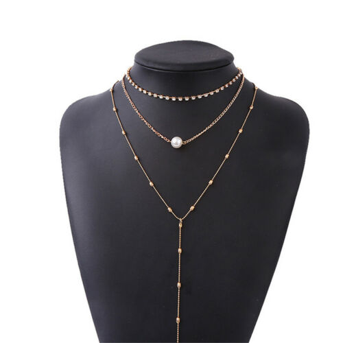 Stylish Clavicle Choker Chain Multi Layer Pearl Pearl Pendant Necklace Jewelry D