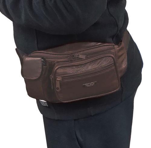 Bum Bag Waist Bag Fanny Pack Dark Brown in Genuine 100/% Leather Lorenz Bum Bag