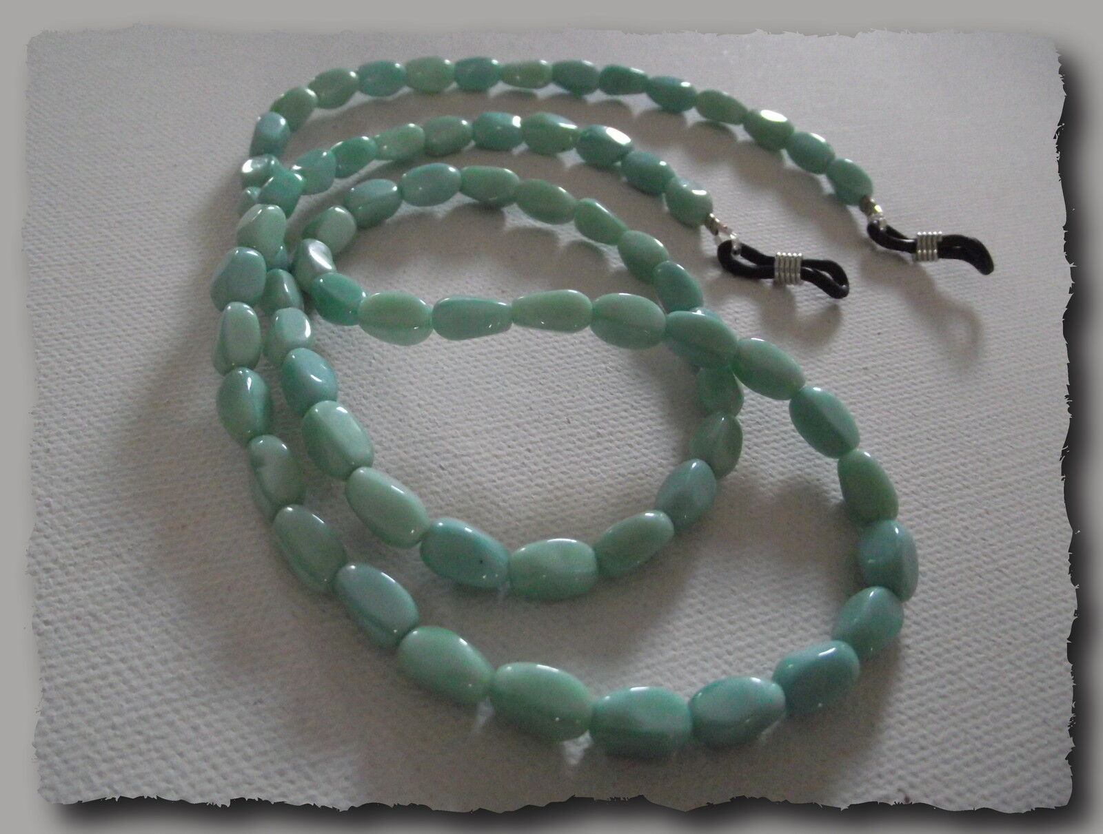 Cord To Glasses Beads Of Glass Turquoise Clear Handmade IN France