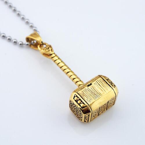 Mens en acier inoxydable Marteau Pendentif Collier Fashion chaîne bijoux en
