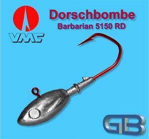 Meeresjig-Dorschbombe-120g-Jig-12-0-Bleikopf-VMC-Barbarian-5150-RD