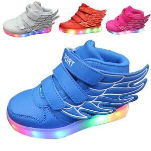Enfant-Garcon-Fille-USB-Charge-LED-Light-Up-Sneakers-Chaussures-Bottes-EU-25-36